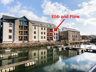 Ebb and Flow, a newly refurbished waterside apartment with reserved parking
