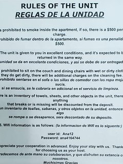 Rules of the inside of the Apartment