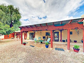 Walk to Historic Taos Plaza! Pueblo-Style Retreat w/ Patio & Rooftop Deck