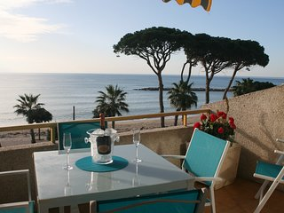 Seafront apartment, 2 bedrooms and wonderful terrace. Shared parking and pool