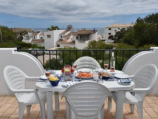 2 bed 2 bath Starfish Cottage with balcony, sea view, garden and communal pools