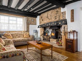 The living room has many wonderful character features...