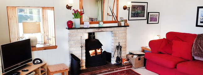 Bright and cosy lounge with log burner