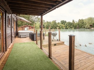 View of the decking and hot tub