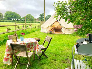 Glamping In The New Forest. Luxury furnished Bell tent, Bluebell, sleeps 4 max.