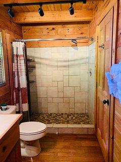 Walk-in shower with rainforest shower head.