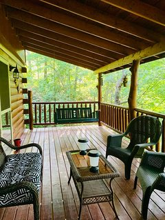 Relax and read your favorite book on the back deck swing!
