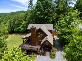 Family-sized cabin with private hot tub, huge backyard, deck space, & firepit