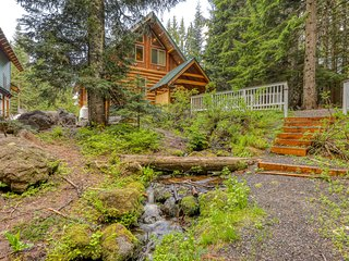 Two beautiful, spacious, dog-friendly mountain cabins w/ hot tub, deck & patio!