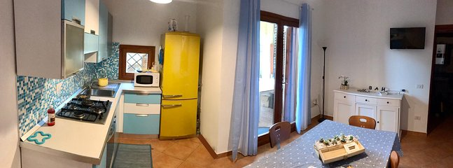 panoramic hall and kitchen