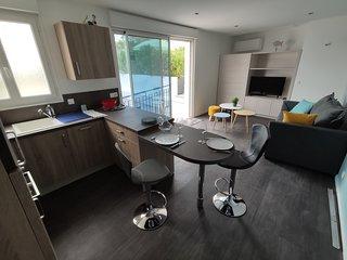 'Les Courlis' : Appartement plein centre avec belle terrasse aménagée