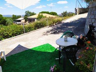 Terraza privada con vistas a montaña