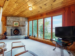 Waterfront log cabin w/ dock, firepit, deck & incredible lake views - Dogs OK!