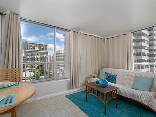 REMODELED CENTRAL WAIKIKI 2BR 1BA CONDO WITH VIEWS