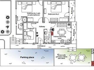 Three-Bedroom apartment plan.