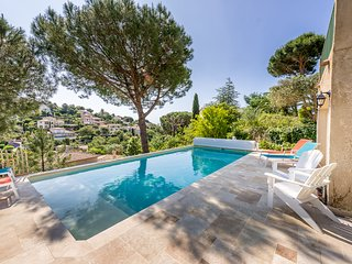 1340644 renovated villa for12, seaview, heated inside&outside pool, partly airco