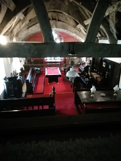 A fascinating view of the hall looking down from the messinine balcony.