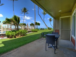 Ground Floor Ease+Ocean View w/Open Kitchen, WiFi, Lanai+Flat Screens–Kauai