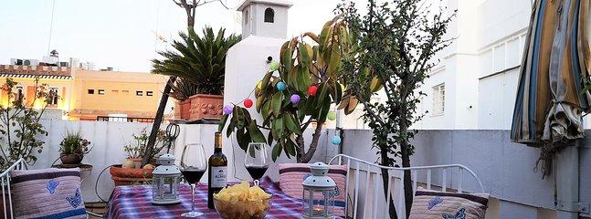 Terrazza principale con mobili da giardino e piante.