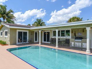 Canal-front home w/ private 36-foot dock, pool & BBQ patio grill