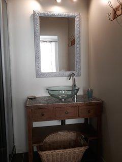 salle de douche avec vasque et cabine de douche