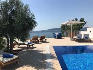 luxury beach villa, private pool, panoramic Aegean sea view near Bodrum