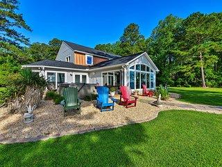 Riverfront Blounts Creek Home w/ Dock & Beach!