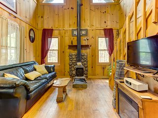Secluded, dog-friendly cabin w/ wood stove, firepit & porch - close to streams