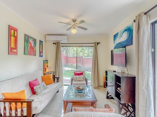 Colorful condo w/ shared pool & central AC, less than two blocks from the beach