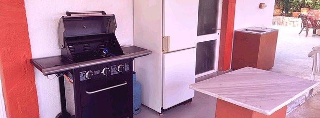 Barbecue und gemeinsamer Kühlschrank mit Gefrierfach