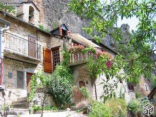 Gite typique en pierre de Lozere3*** balcon vue Gorges du Tarn