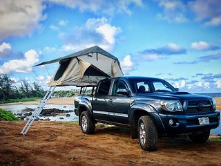 Kauai camping in 4WD truck top tent camper - adventure awaits you!
