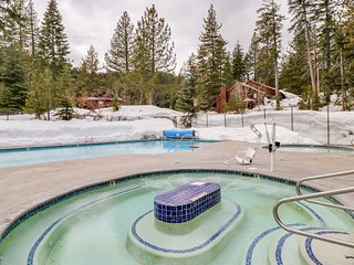 Dog-friendly studio condo w/ a deck, shared pool, hot tub, tennis, & gym!