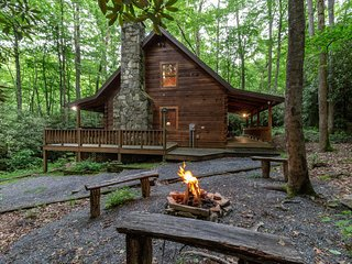 Sheltered log cabin w/ wrap-around porch - hot tub & stone fireplace!