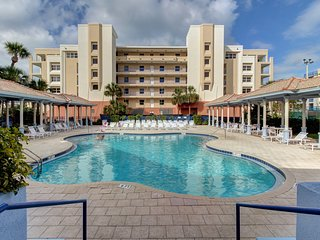 Dog-friendly condo w/ shared pools, hot tub, tennis & gym - steps to beach!