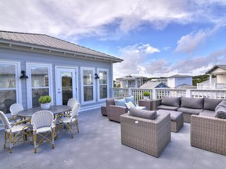 Stunning beach house w/shared pool, large deck w/views - walk to the beach!