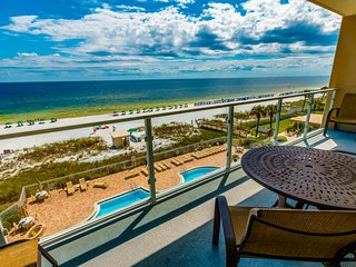 Enjoy Gulf views from your balcony w/ convenient beach access & a shared pool!