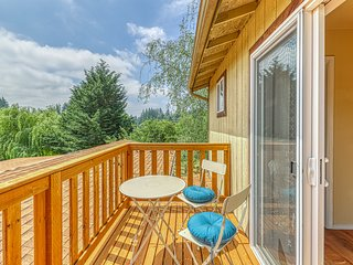 Dog-friendly house & studio w/ a deck, private hot tub, firepit, & large yard
