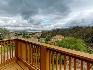 Beautiful lake view home with large deck overlooking the canyon!