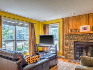 Riverfront condo w/ mountain views - close to conveniences & the slopes!