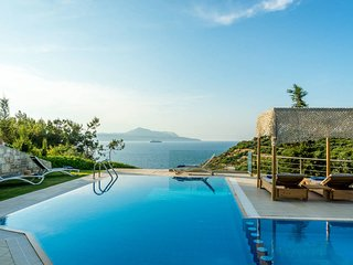 A luxury seafront villa with heated pool