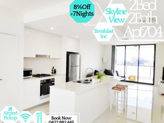 Stylish 2Bed 2Bath Apartment704 + Skyline Views - Breakfast Included!