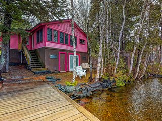 Lakefront cottage w/ dock, firepit, & views - near boat launch - two dogs OK!