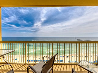 High rise condo with 2 shared pools, private balcony and beach access!