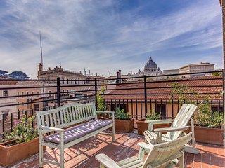 Borgo Pio . Unique view over St. Peter's Dome!