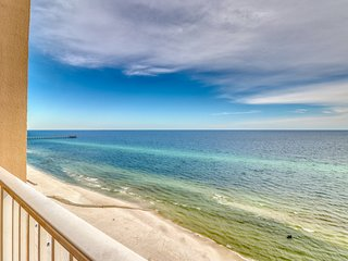 Beach views from the private balcony at spacious Tidewater condominium!
