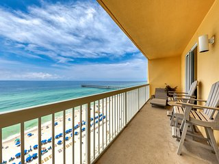 Beach-view high-rise condo with shared pool, central location!