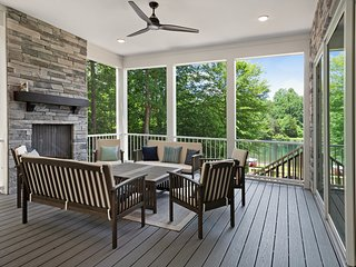 New lakefront home w/ private beach, dock & firepit!