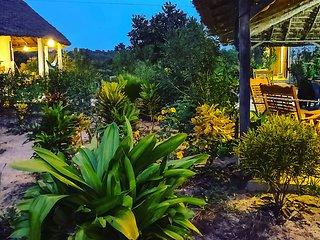Jardin luxuriant du Papayer Ecolodge avec terrassait patio