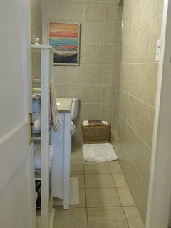 Bathroom with shower and laundry